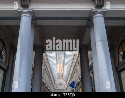 Galeries Royales Saint Hubert. Ornate nineteenth century shopping arcades in the centre of Brussels. Photographed from the outside. - Stock Photo