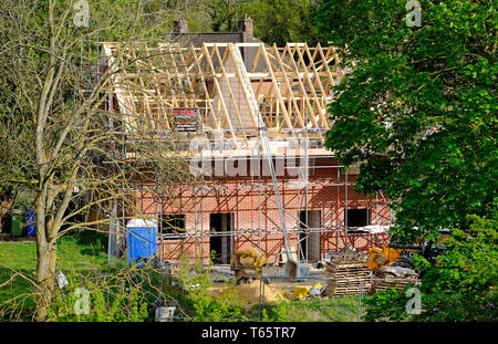 new build semi-detached houses under construction, norwich, norfolk, england - Stock Photo