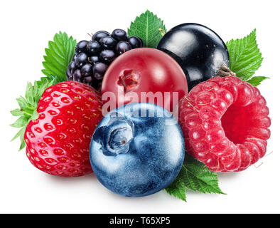 Colorful group of mixed berries with leaves on white background. Clipping path. - Stock Photo