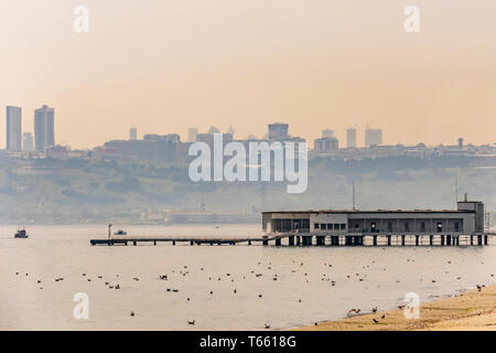Florya,istanbul,turkey-april 27,2019.Florya Atatürk Marine Mansion is a historic presidential residence located offshore in the Sea of Marmara. - Stock Photo