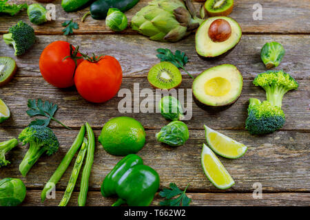 Collection panoramic fresh healthy fruits and vegetables. - Stock Photo