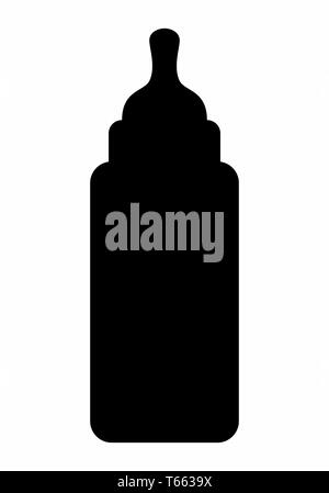 Baby bottle dark silhouette isolated on white background - Stock Photo