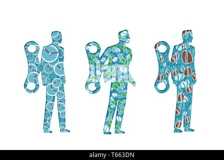 Businessmen walking with a wind up key mechanism being stimulated by energy pills and coffee - Stock Photo