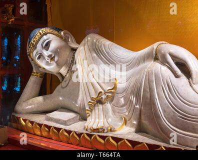 Reclining Buddha in the Jade Buddha Temple, Shanghai, China - Stock Photo