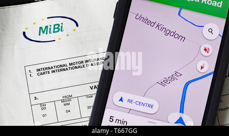 A International Insurance Green Card Which Will Be Required For Travelling Across The Border Between The Uk And Ireland In The Event Of A No Deal Brexit Stock Photo Alamy