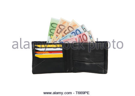 wallet with cash and credit cards - Stock Photo