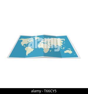 Folded World Map - Stock Photo