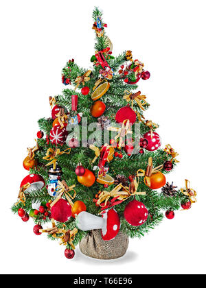 Christmas fir tree decorated with toys and Christm - Stock Photo