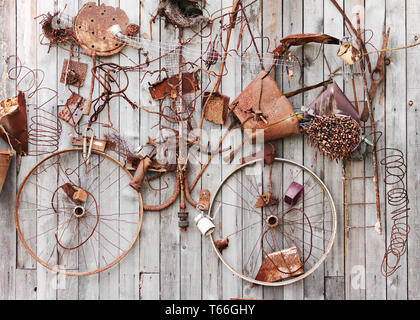 Still-life of rusty metal items on wooden backgrou - Stock Photo