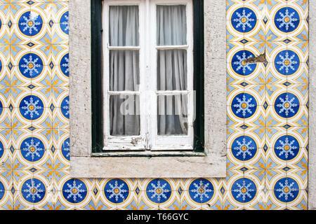 Traditional ornamental tiles on house facade in Cascais, Sintra - Stock Photo