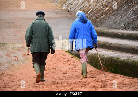 Elderly couple dressed for winter, with walking sticks on beach - Stock Photo