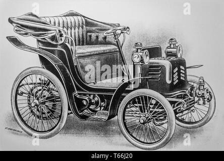 Old drawing of Voiturette FN 1900 by the Belgian car manufacturer Fabrique Nationale d'Herstal / National Factory of Herstal, Belgium - Stock Photo