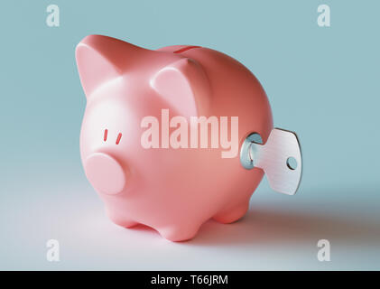 Piggy bank with key, 3d rendering