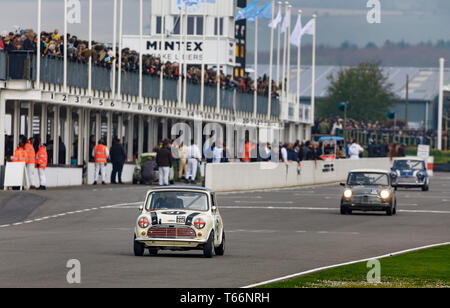 The Betty Richmond Trophy race for mini saloons and variants at the 77th Goodwood GRRC Members Meeting, Sussex, UK. - Stock Photo