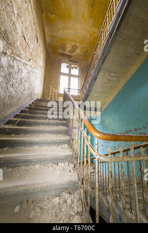 fish eye shoot of a very old ruinous staircase - Stock Photo