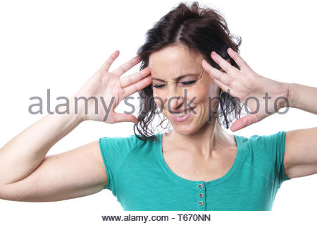 mature woman with head ache - Stock Photo