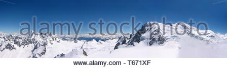 panoramic view of Chamonix Mont Blanc in France - Stock Photo