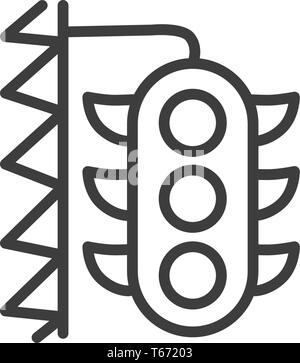 Urban and city element icon - traffic light in trendy simple line art style - Stock Photo