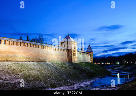 Veliky Novgorod Kremlin towers in December night in Veliky Novgorod, Russia, winter night scene. Landmarks of Veliky Novgorod, Russia - Stock Photo
