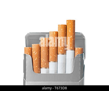 Opened pack of cigarettes closeup isolated on white with clipping path and copy space - Stock Photo
