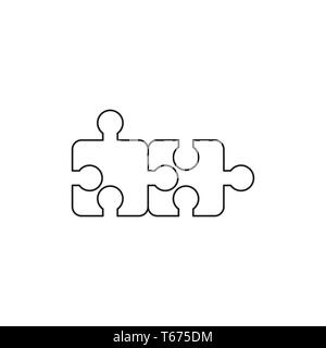 Vector icon concept of two puzzle pieces connected. Black outlines. - Stock Photo