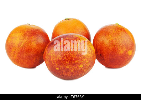 Ripe red blood oranges isolated on white backgroun - Stock Photo