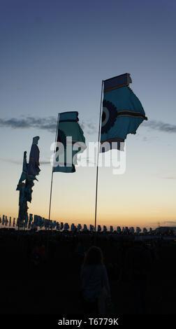 Glastonbury Festival Flags - Stock Photo
