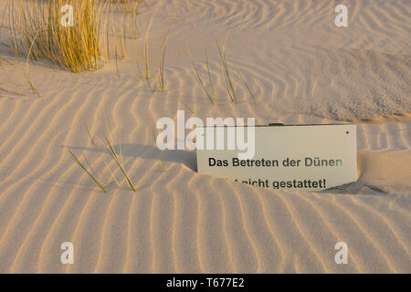 North Sea island of Juist, East Frisia, North Sea beach, dunes, enter prohibited sign, Lower Saxony, Germany, - Stock Photo