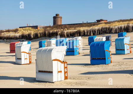 North Sea island Juist, East Frisia, beach with beach chairs, Lower Saxony, Germany, - Stock Photo