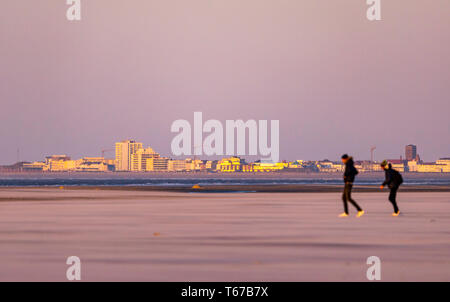 North Sea island of Juist, view to neighboring island Norderney, East Frisia, Lower Saxony, Germany, - Stock Photo