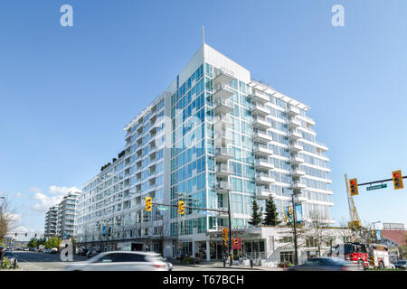 NORTH VANCOUVER, BC, CANADA - APR 26, 2019: New developments built on Esplanade Ave as part of the continued construction boom in Vancouver. - Stock Photo
