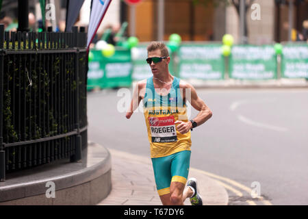 Paralympic athlete,  Michael Roeger, (AUS), competing in the 2019   London Marathon. He finished first in the  T45/46 Category, in a time of  02:22:51