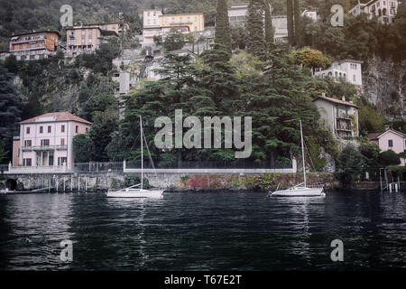 Villages on the hills in the evening. Old Village on Lake Como, Italy.Como lake is the most beautiful city around the lake.This is the most beautiful