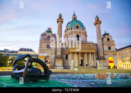 St. Charles's Church (Karlskirche) in Vienna, Austria - Stock Photo