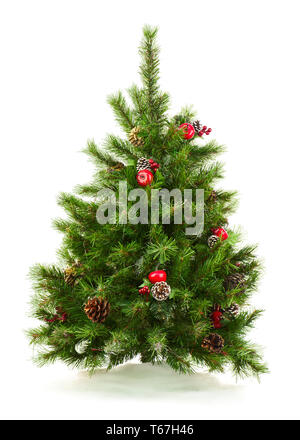 Green Decorated Christmas Tree Isolated on White B - Stock Photo