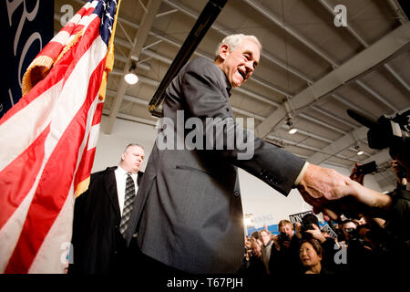 Presidential candidate Ron Paul (R-TX) holds a campaign rally at the Nashua Regional Airport along with his son Rand Paul (R-KY) - Stock Photo