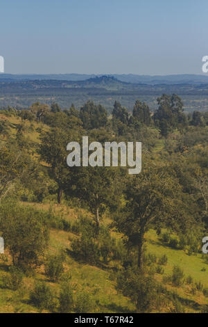 Beautiful view of the mountains on top of a hill, São Teotónio, Portugal - Stock Photo