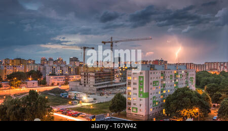 Lightning  Over Housing Estate. Storm in the City. - Stock Photo