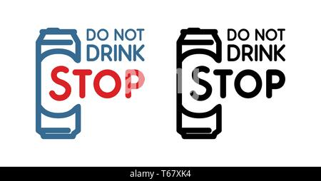 Anti-alcoholism propaganda badge. Colored and black Vector Sign with beer bottle and slogan - Do Not Drink, Stop. - Stock Photo
