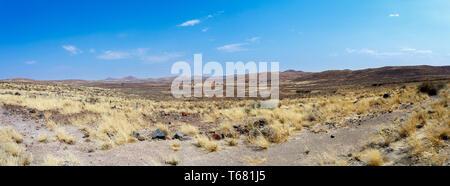 dry Namib desert in sunset, landscape - Stock Photo