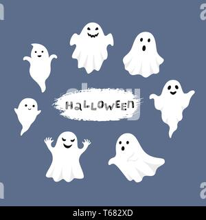 Happy Halloween, Ghost, Scary white ghosts. Cute cartoon spooky character. Smiling face, hands. Blue background Greeting card. - Stock Photo