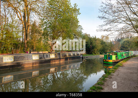Canal boats on the oxford canal in the early morning spring sunlight. Shipton on cherwell, Oxfordshire, England - Stock Photo