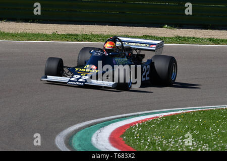 Imola, 27 April 2019: Historic 1976 F1 Ensign ex Ronnie Kessel driven by Alex Caffi in action during Minardi Historic Day 2019 in Imola Circuit - Stock Photo