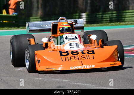 Imola, 27 April 2019: Historic F1 March-Cosworth 751 1976 ex Peterson - Brambilla driven by unknown in action during Minardi Historic Day 2019 - Stock Photo