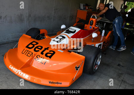 Imola, 27 April 2019: Detail of Historic F1 March-Cosworth 751 1976 ex Peterson - Brambilla in the box at Minardi Historic Day 2019 at Imola Circuit - Stock Photo