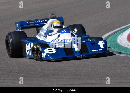 Imola, 27 April 2019: Historic 1976 F1 Tyrrell P34 ex Ronnie Peterson driven by Pierluigi Martini in action during Minardi Historic Day 2019 at Imola - Stock Photo