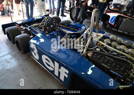 Imola, 27 April 2019: Detail of Historic 1976 F1 Tyrrell P34 ex Ronnie Peterson driven by Pierluigi Martini in the box during Minardi Historic Day 201 - Stock Photo