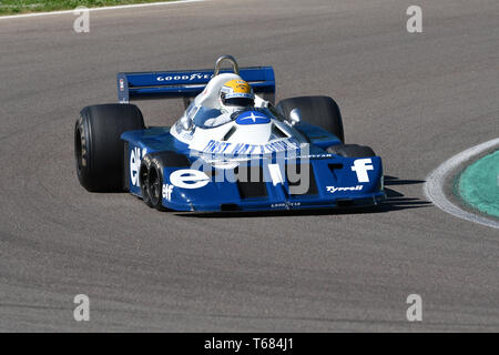 Imola, 27 April 2019: Historic 1976 F1 Tyrrell P34 ex Ronnie Peterson driven by Pierluigi Martini in action during Minardi Historic Day 2019 at Imola - Stock Photo