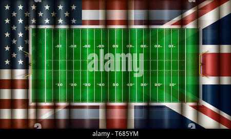 Digital Illustration of a American Football Field, the United States Flag, and the British Flag all composited together. 3D Illustration - Stock Photo
