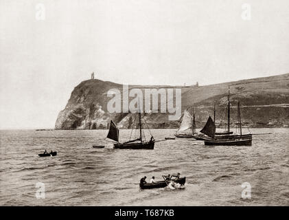 A 19th Century view of fishing boats off  Port Erin, a seaside village in the south-west of the Isle of Man, a self-governing British Crown dependency in the Irish Sea between Great Britain and Ireland. - Stock Photo